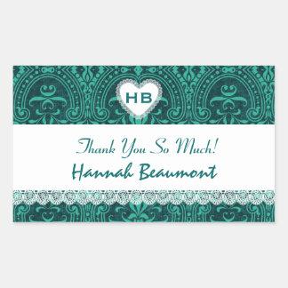 Bridal Shower Thank You Green Damask V10 Rectangular Sticker