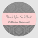 Bridal Shower Thank You Grey and Pink Damask V45 Round Stickers