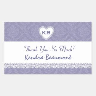 Bridal Shower Thank You Lavendar Purple Damask V20 Rectangular Sticker