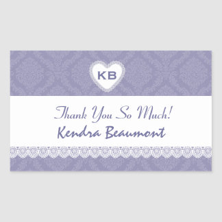 Bridal Shower Thank You Lavendar Purple Damask V20 Rectangle Stickers