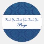 Bridal Shower Thank You Navy Blue Damask V08 Round Stickers