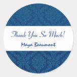 Bridal Shower Thank You Navy Blue Damask V46 Round Sticker