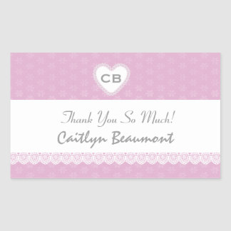 Bridal Shower Thank You Pink and White Lace V02 Sticker
