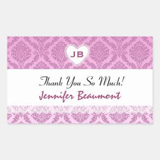 Bridal Shower Thank You Pink Damask V16 Rectangular Sticker