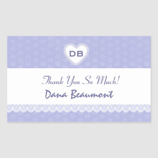 Bridal Shower Thank You Purple and White Lace V05 Stickers