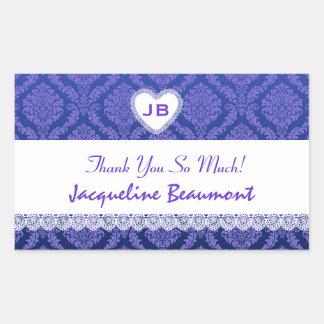 Bridal Shower Thank You Purple Damask V14 Rectangular Sticker
