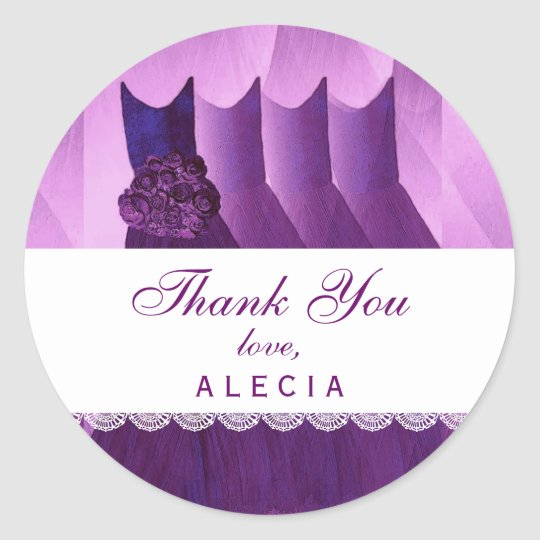 Bridal Shower Thank You PURPLE Gowns V04 Classic Round Sticker