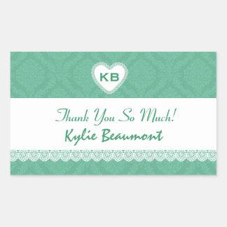 Bridal Shower Thank You Soft Green Damask V21 Rectangular Sticker
