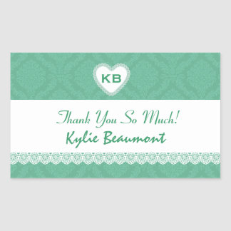 Bridal Shower Thank You Soft Green Damask V21 Stickers