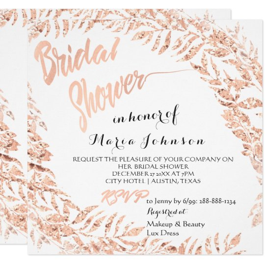 Bridal Shower Tropical Leafs Glitter Pink Rose Lux