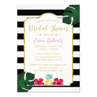 Bridal Shower Tropical Pineapple & Hibiscus Modern 13 Cm X 18 Cm Invitation Card
