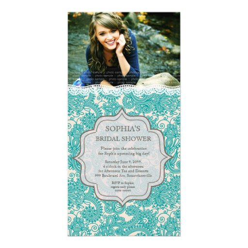 Bridal Shower Turquoise Lace Paisley Photo Invite Photo Greeting Card