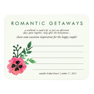 Bridal Shower Vacation Ideas Card | Pink Floral