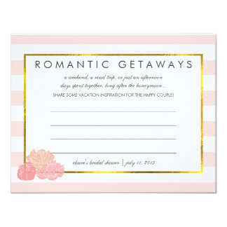 Bridal Shower Vacation Ideas | Pink Stripe & Peony 11 Cm X 14 Cm Invitation Card