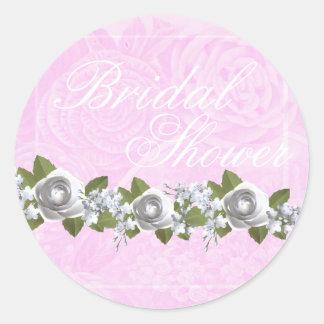 Bridal shower vintage pink rose round sticker
