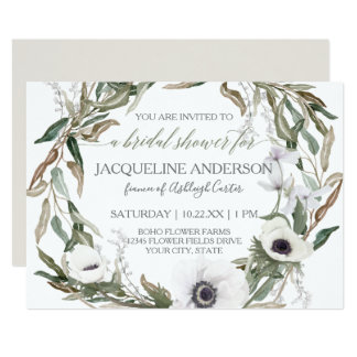 Bridal Shower Watercolor Anemone Olive Leaf Wreath Card