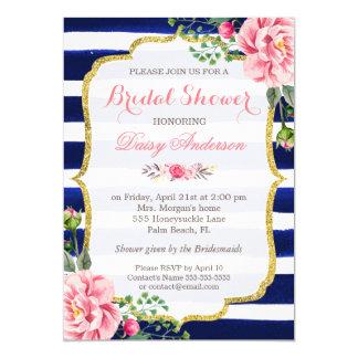 Bridal Shower Watercolor Floral Navy Blue Stripes Card