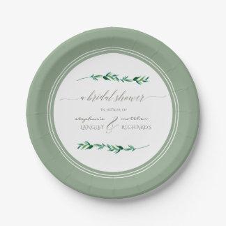 Bridal Shower Watercolor Simple Leaf Modern Art Paper Plate