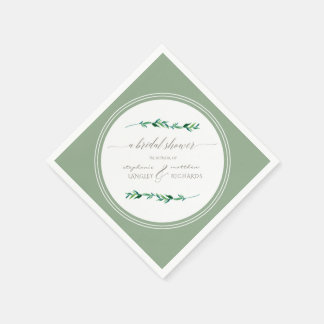 Bridal Shower Watercolor Simple Modern Leaves Disposable Napkins