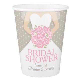 Bridal shower wedding dress pink shower cups