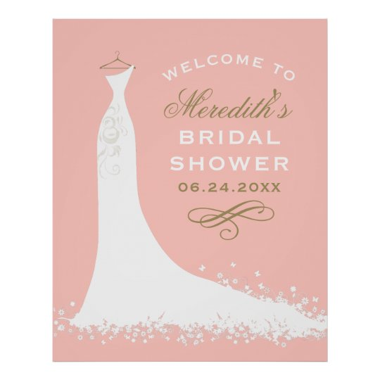 Bridal Shower Welcome | Elegant Wedding Gown Poster