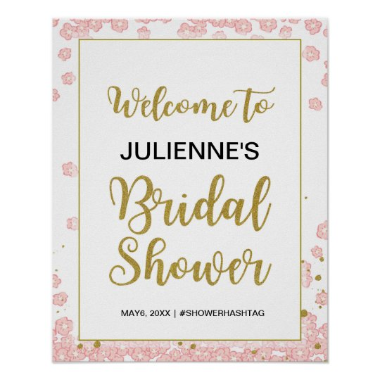 Bridal Shower Welcome | Pink and Gold Glitter
