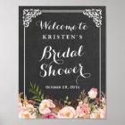 Bridal Shower Welcome Sign Chalkboard Frame Flower