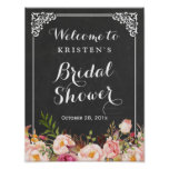 Bridal Shower Welcome Sign Chalkboard Frame Flower