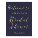 Bridal Shower welcome sign | Gold and blue