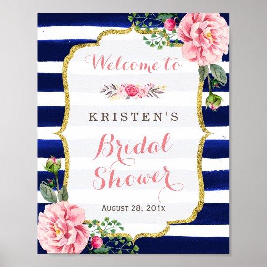Bridal Shower Welcome Sign Pink Floral Navy Stripe