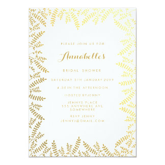 Bridal Shower White Gold Foil Leaves Card