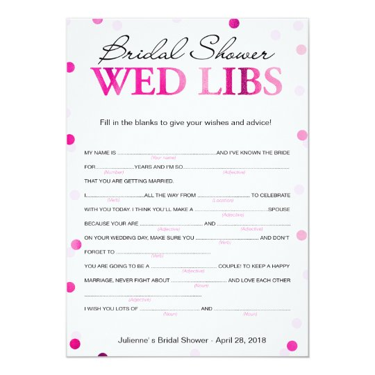 Bridal Shower Wishes and Advice Magenta Game Card