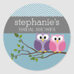 Bridal Shower with Owl Couple on Branch Round Sticker