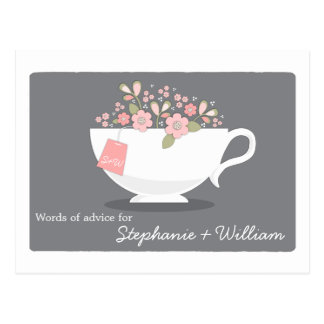 Bridal Shower Words of Advice Card Floral Teacup Postcard