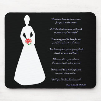 Bridal Silhouette Will You Be My Bridesmaid Mouse Mat