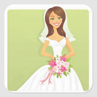 Bridal Smile Square Sticker