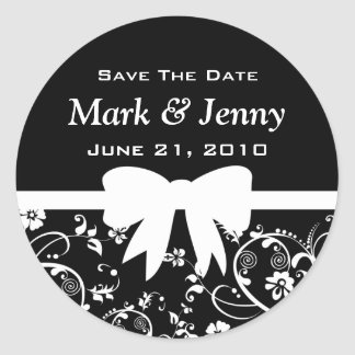 Bridal Swirls Save The Date White Round Sticker