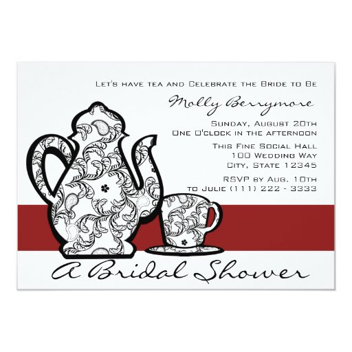 Bridal Tea Shower 13 Cm X 18 Cm Invitation Card