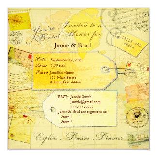 Bridal Travel Shower theme 13 Cm X 13 Cm Square Invitation Card