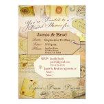 Bridal Travel Shower theme in cocoa and cream 5x7 Paper Invitation Card