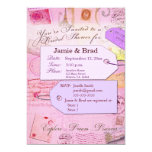 Bridal Travel Shower theme in pink and purple Personalized Invitation