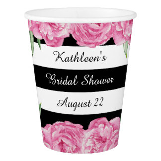 Bridal Wedding Shower Black Stripes Floral Glam Paper Cup