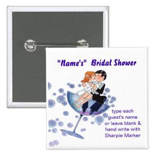 Bridal Wedding Shower Name Pins