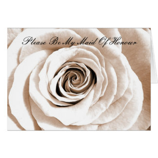 Bridal white Please Be My Maid Of Honour Greeting Card