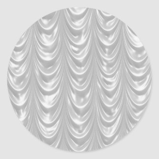 Bridal White Satin fabric with Scalloped Pattern Round Sticker
