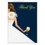 Bridal wine brunette on navy greeting cards