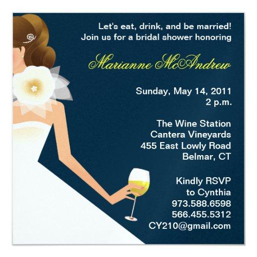 Bridal wine brunette on navy 13 cm x 13 cm square invitation card