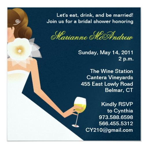 Bridal wine brunette on navy personalized invite