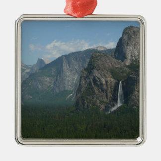 Bridalveil Falls and Half Dome at Yosemite Silver-Colored Square Decoration