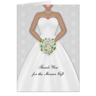 Bride African American Bridal Shower Thank You Greeting Cards